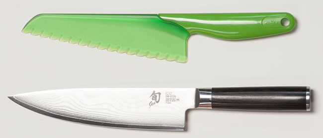 A lettuce knife next to a chef's knife, illustrating the similarities.