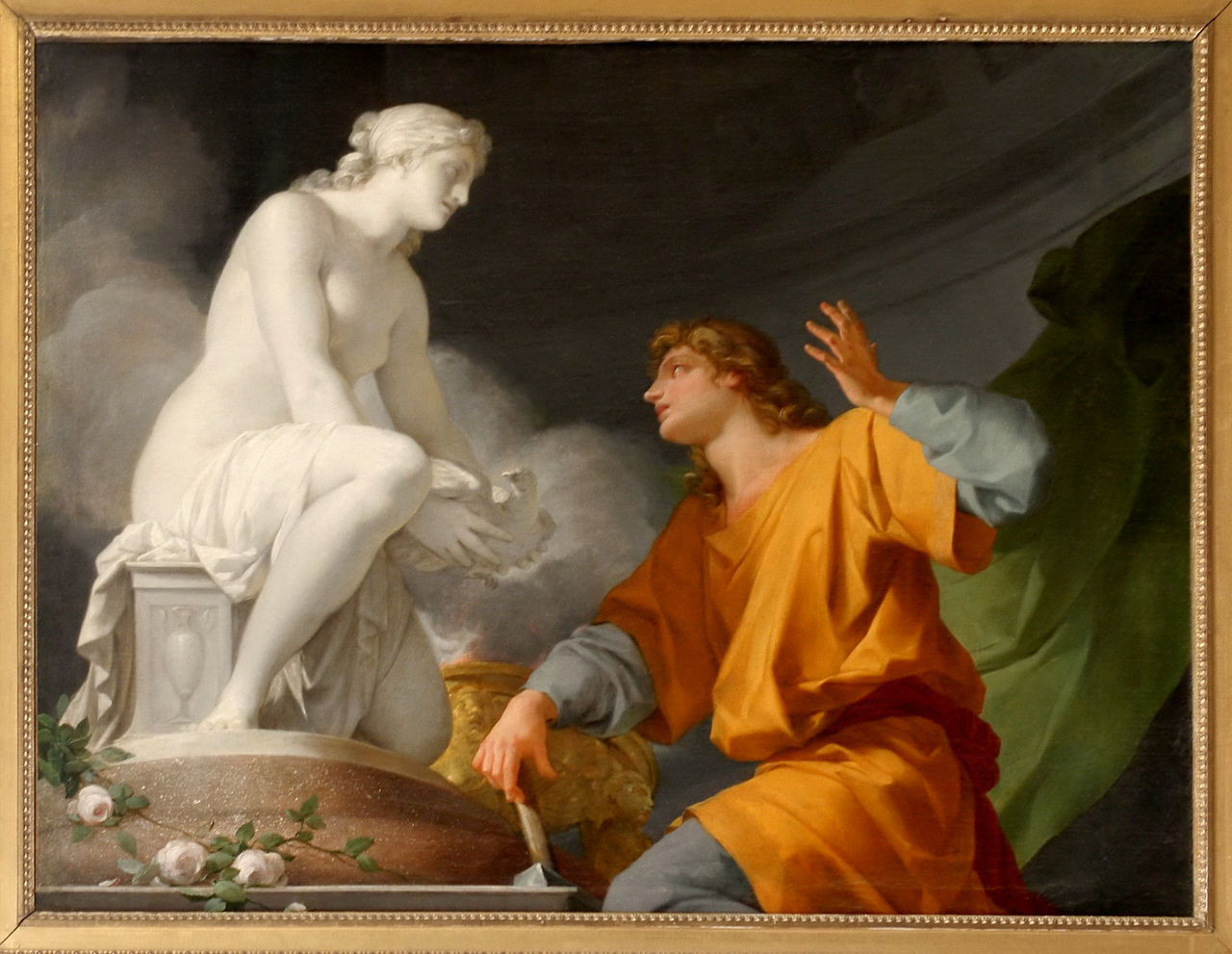 Pygmalion talking to the statue of Galatea, before she became human.